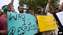 Para jurnalis Pakistan mengutuk serangan terhadap jurnalis di Quetta, hari Senin (8/8.