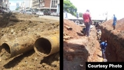 Harare water pipe replacement (file photo)