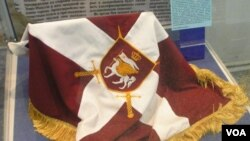 რუსების მიერ ტროფეის სახით წაღებული ქართული დროშა. გამოფენილია რუსეთის არმიის მუზეუმში მოსკოვში