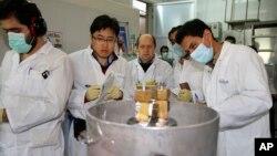 Des inspecteurs de l'Agence internationale de l'énergie atomique et des techniciens iraniens procèdent à des analyses au site de Natanz, à 322 kilomètres de Téhéran, Iran, 20 janvier 2014.