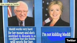 """#ImNotKiddingMaddi and the """"Bernie versus Hillary"""" Internet meme"""