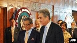 Pakistanlı bakan Şah Mahmud Kureyşi ile Hintli bakan S.M. Krişna İslamabad'da görüştü
