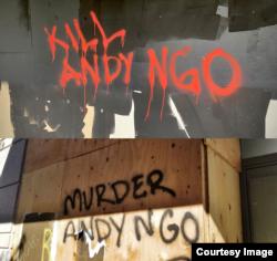 Những lời dọa giết nhà báo Andy Ngô xuất hiện ở thành phố Portland.