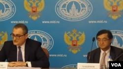 哈基莫夫(右)与俄罗斯副外长莫尔古洛夫(左)(美国之音白桦)