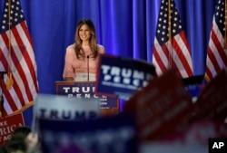 Melania Trump, husband of Republican presidential candidate Donald Trump, speaks at the Main Line Sports Center in Berwyn, Pennsylvania, Nov. 3, 2016.