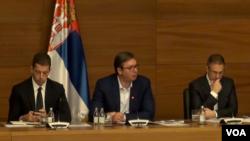 Predsednik Srbije Aleksandar Vučić tokom sastanka sa predstavnicima Srba sa Kosova.
