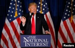 FILE - Republican U.S. presidential candidate Donald Trump delivers a foreign policy speech at the Mayflower Hotel in Washington, April 27, 2016.