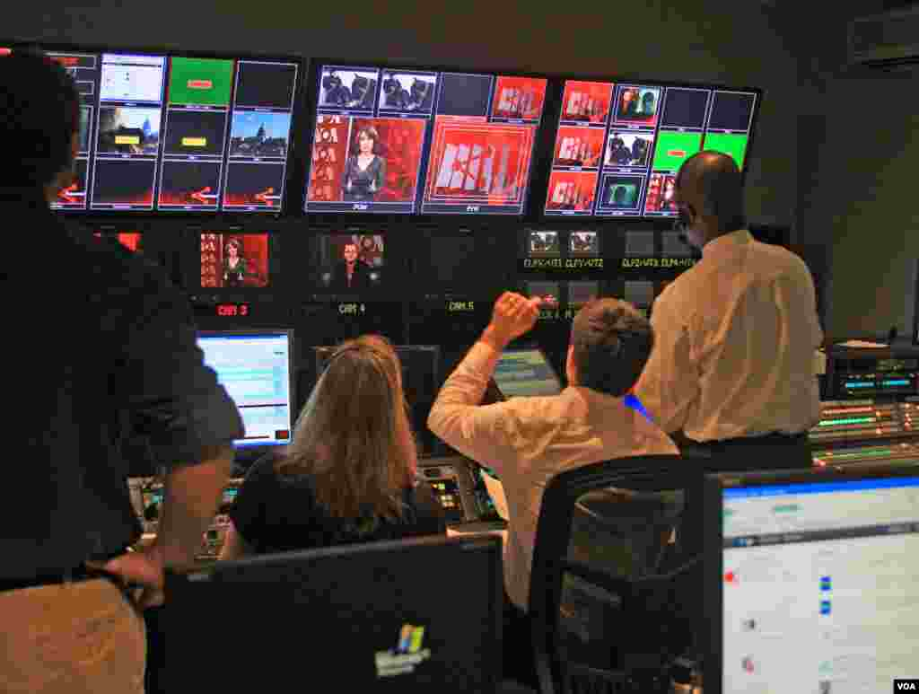 Studio 52 control room during broadcast of Russian Service show Podalis.