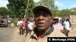 Raymond Majongwe, the secretary general of the Progressive Teachers Union, leads teacher protests in Harare, Nov. 9, 2018.