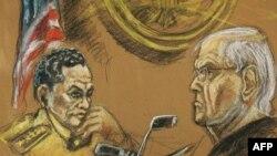 Bivši panamski diktator Manuel Noriega pred francuskim sudijom u Parizu, gde je optužen za pranje nezakonito stečenog novca.