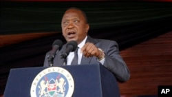 Kenyan President Uhuru Kenyatta delivers his speech to the nation during the 53rd Jamhuri Day Celebrations (Independence Day) at Nyayo Stadium in Nairobi, Dec. 12, 2016. On Monday, Kenyatta gave the clearest sign yet Kenya may be headed out of the ICC.