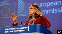 European Union Trade Commissioner Cecilia Malmstrom speaks during a media conference at EU headquarters in Brussels, Friday, Jan. 18, 2019.