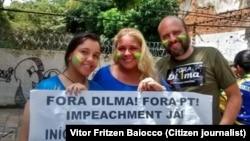 Cartazes contra a Presidente Dilma na manifestação em Belém do Pará