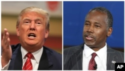FILE- Republican presidential candidates Donald Trump, left, and Ben Carson.