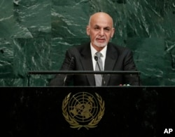 FILE - Afghanistan's President Ashraf Ghani addresses the United Nations General Assembly at the United Nations headquarters, Sept. 19, 2017.