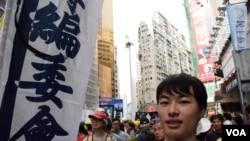 香港理工專上學院編委會成員陳嘉濠 (美國之音特約記者 湯惠芸拍攝)