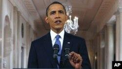 백악관 이스트 룸에서 철군계획을 발표하는 오바마 대통령