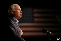 FILE - Sen. John McCain, R-Ariz., then a Republican presidential candidate, speaks at a rally in Davenport, Iowa, Oct. 11, 2008.