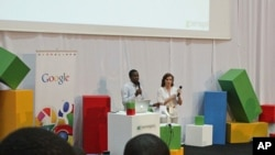 Google's Tidjane Deme and Eugenie Rives open a developer's conference at University Cheikh Anta Diop in Dakar