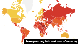 지난해 세계 각국의 부패도 지표. 붉은색은 부패도가 높고 노란색은 청렴도가 높은 지역이다.
