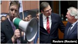 Aleksandar Vučić tokom protesta pred zgradom u kojoj je bio B92 2008. i Aleksandar Vučić u društvu zvaničnika EU Žana Aselborna 2015.