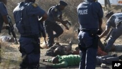 16일 남아프리카 루스텐버그의 론민 광산에서 사망한 시위대 주변에 모여든 진압 경찰들.