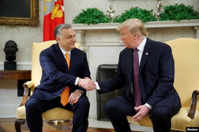 特朗普总统在白宫椭圆形办公室会晤匈牙利总理欧尔班。(2019年5月13日)