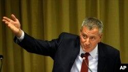 美国纽约市长白思豪。(资料照片)