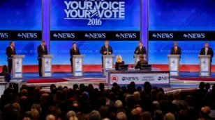 Republican presidential candidates line up on the stage at the beginning of a Republican presidential primary debate hosted by ABC News at the St. Anselm College, Feb. 6, 2016, in Manchester, N.H.