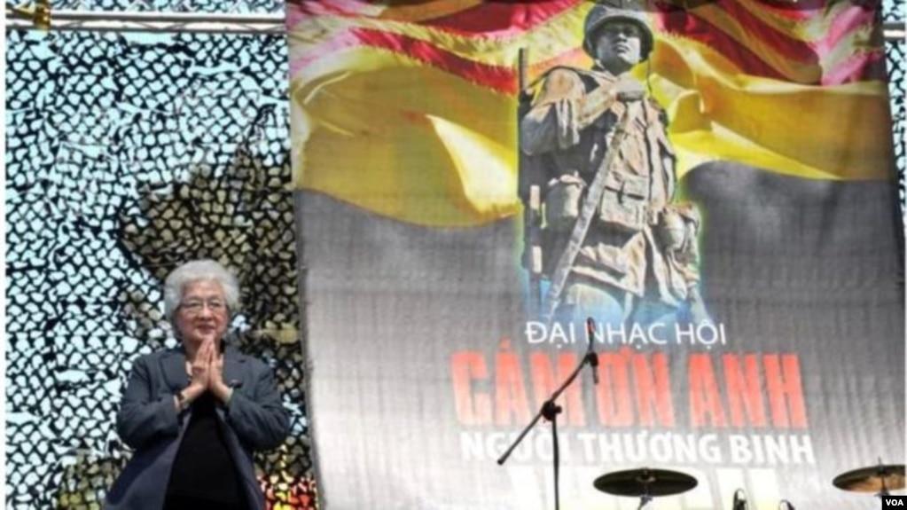 Bà Hạnh Nhơn, tên tuổi gắn liền với Hội H.O. Cứu Trợ Thương Phế Binh & Quả Phụ VNCH. (Hình: Dân Huỳnh/Người Việt)