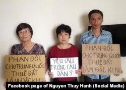 Ba nhà hoạt động ở Hà Nội phản đối dự luật về đặc khu kinh tế, tháng 6/2018