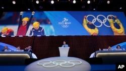 Wakil PM China Liu Yandong, saat menyampaikan pidato dalam sidang ke-128 IOC di Kuala Lumpur, Malaysia, dan mempresentasikan Beijing sebagi tuan rumah Olimpiade Musim Dingin 2022 (31/7).
