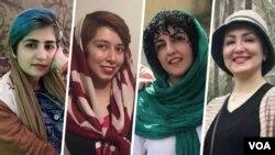 از راست: ناهید شقاقی، نرگس محمدی، صبا کرد افشاری و سپیده قلیان از جمله زنان زندانی در ایران