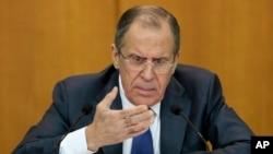 세르게이 라브로프 러시아 외무장관이 러시아 텔레비젼에서 시리아 사태에 대해 설명하고 있다(자료사진)