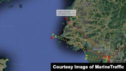 선박의 실시간 위치를 보여주는 마린트래픽(Marine Traffic) 확인 결과, 남북한을 오간 것으로 보이는 선박의 AIS 신호가 지난 3일 북한 남포항 앞에서 또 다시 포착됐다.