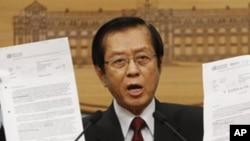 台湾外交部长杨进添今年5月在记者招待会上抗议北京向世卫组织施压,把台湾视为中国大陆的一个省 (资料照片)