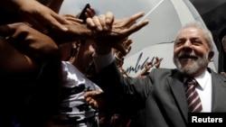 FILE - Brazil's former president Luiz Inacio Lula da Silva attends a rally in the northeastern city of Lagarto in Sergipe, Brazil, Aug. 21, 2017.
