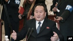 Menteri Luar Negeri Korea Utara Ri Son Gwon di Zona Demiliterisasi di Paju, Korea Selatan. (Foto: dok)