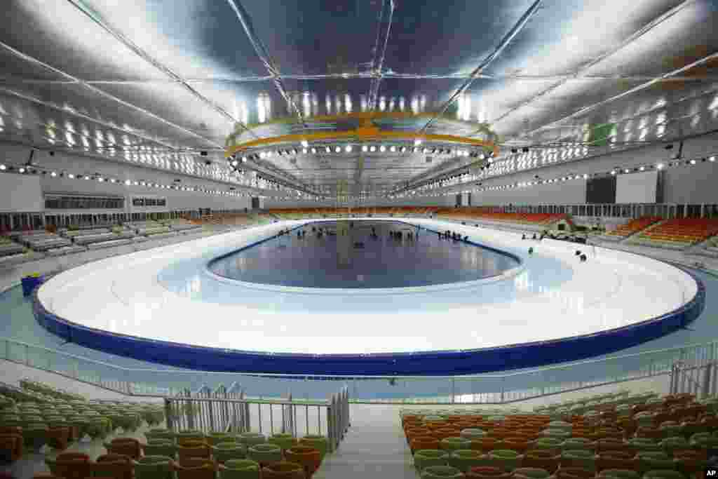 An inside view of the Adler arena speed skating venue in Sochi.
