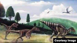 A young Telmatosaurus hunted by the predator Balaur bondoc. (Mihai Dumbravă)