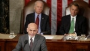 U.S. Vice President Joe Biden, back left, and House Speaker John Boehner, back right, look on as Afghan President Ashraf Ghani addresses a joint meeting of Congress at the U.S. Capitol in Washington, March 25, 2015.