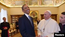 2014年3月27日,美國總統奧巴馬在梵蒂岡與教宗方濟各會面。