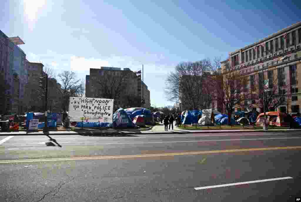 The Occupy DC camp at McPherson Square in Washington, Monday Jan. 30, 2012. (Alison Klein/VOA)