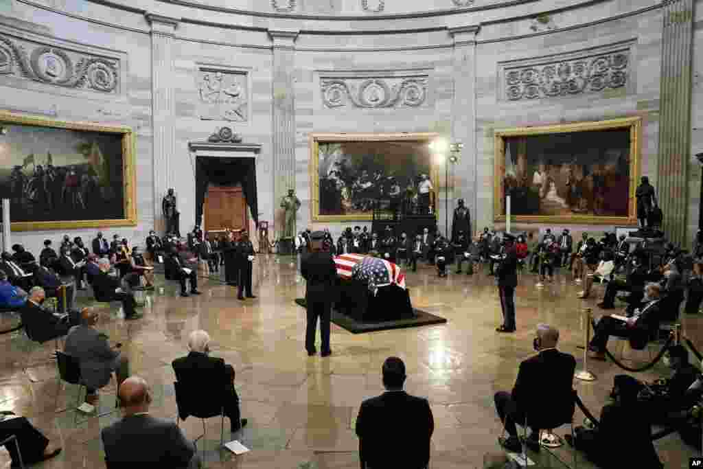 The flag-draped casket of the late Rep. John Lewis, D-Ga., a key figure in the civil rights movement and a 17-term congressman from Georgia, lies in state at the Capitol in Washington, D.C.