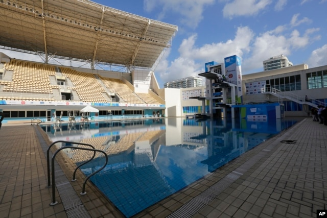 The Maria Lenk Aquatics Center, which will host the synchronized swimming and diving competitions during the 2016 Olympic Games, is seen during a presentation to the press in Rio de Janeiro, Brazil, Feb. 12, 2016.