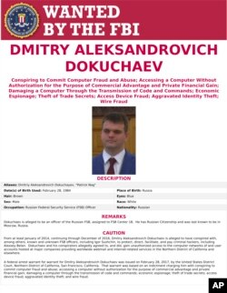 FILE - This wanted poster provided by the FBI shows Dmitry Aleksandrovich Dokuchaev, 33, a Russian national. A U.S. indictment of two Russian intelligence agents and two hackers alleged to have stolen more than half a billion U.S. email accounts in 2014 has cast a spotlight on the intertwining of the Russian security services and the murky digital underworld.