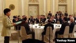 박근혜 한국 대통령이 3일 청와대 영빈관에서 열린 '2014년 신년인사회'에서 인사말을 하고 있다.