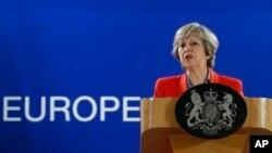 지난달 21일 벨기에 브뤼셀에서 열린 유럽연합 정상회의에 참석한 테레사 메이 영국 총리가 기자회견을 하고 있다. (자료사진)