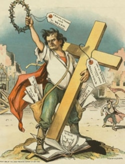 "A cartoon from the magazine ""Judge"" criticizing William Jennings Bryan for his ""Cross of Gold"" speech. The cartoon charges Mister Bryan with disrespect for religion"