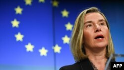 FILE - High Representative of the Union for Foreign Affairs and Security Policy Federica Mogherini gives a press conference at the EU headquarters in Brussels, Dec. 17, 2018. Mogherini reportedly will not attend an upcoming international conference on the Middle East in Poland.